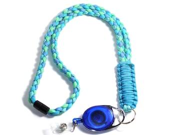 Blue Paracord Lanyard - Paracord Badge Reel - ID Badge Holder - Breakaway Lanyard - Teacher Lanyard - Neck Lanyard - Breakaway Clasp