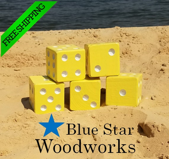 Lawn Dice The Ocean Blue and White Yardzee Life/'s a Beach Series Giant DIce Game Backyard Game
