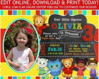Daniel Tiger Birthday Invitation With Photo Edit Online Download Print Today DanielTiger 5x7 Editable Template Corjl