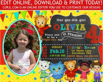 Daniel Tiger Birthday Invitation Photo Invite Neighborhood 5x7 Editable Template