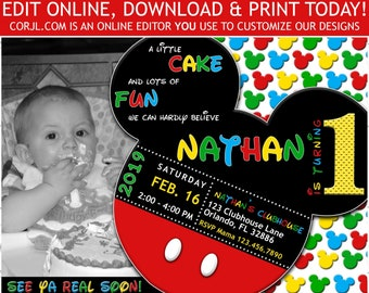 Mickey Mouse 1st Birthday Photo Invitation First Invite DIY Printable Template Corjl