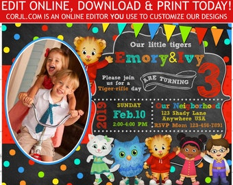 Daniel Tiger Invitation Twins Birthday Photo Invite Editable Template Instant Download Printable 5x7 Corjl