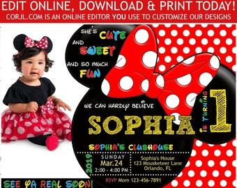 Minnie Mouse 1st Birthday Invitation First Photo Invite 5x7 DIY Editable Template Printable Corjl
