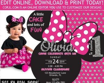 Printable Minnie Mouse First Birthday Invitation With Photo