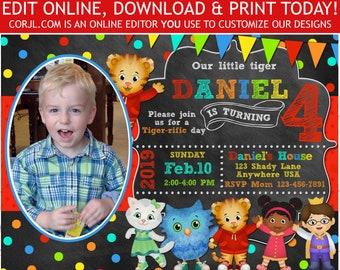 Daniel Tiger Birthday Invitation Invite With Photo 5x7 Editable Template Printable Corjl