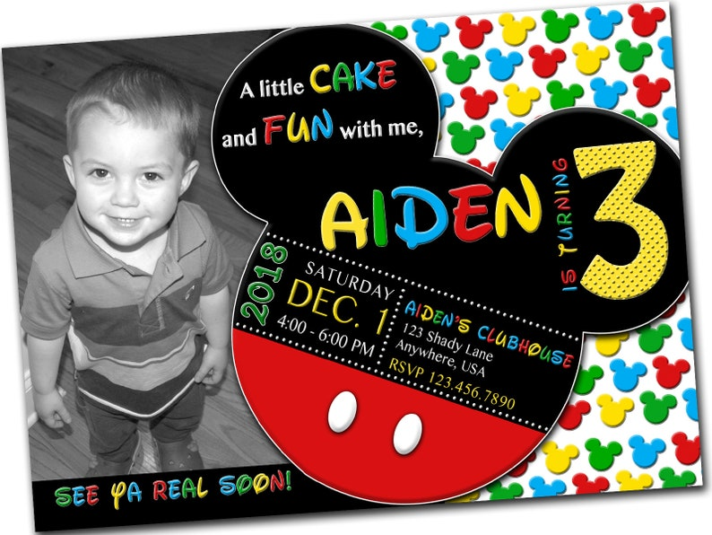 Printable Birthday Invitation Mickey Mouse With Photo Third