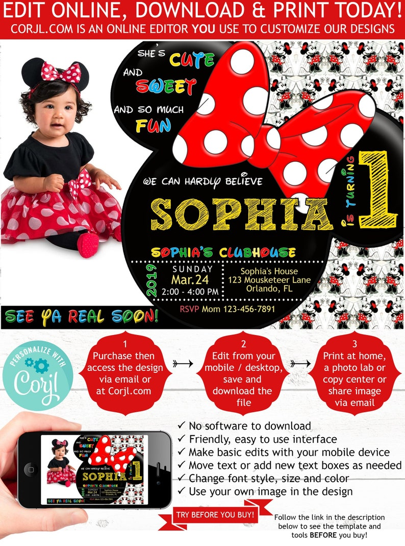 Minnie Mouse 1st Birthday Invitation With Photo First