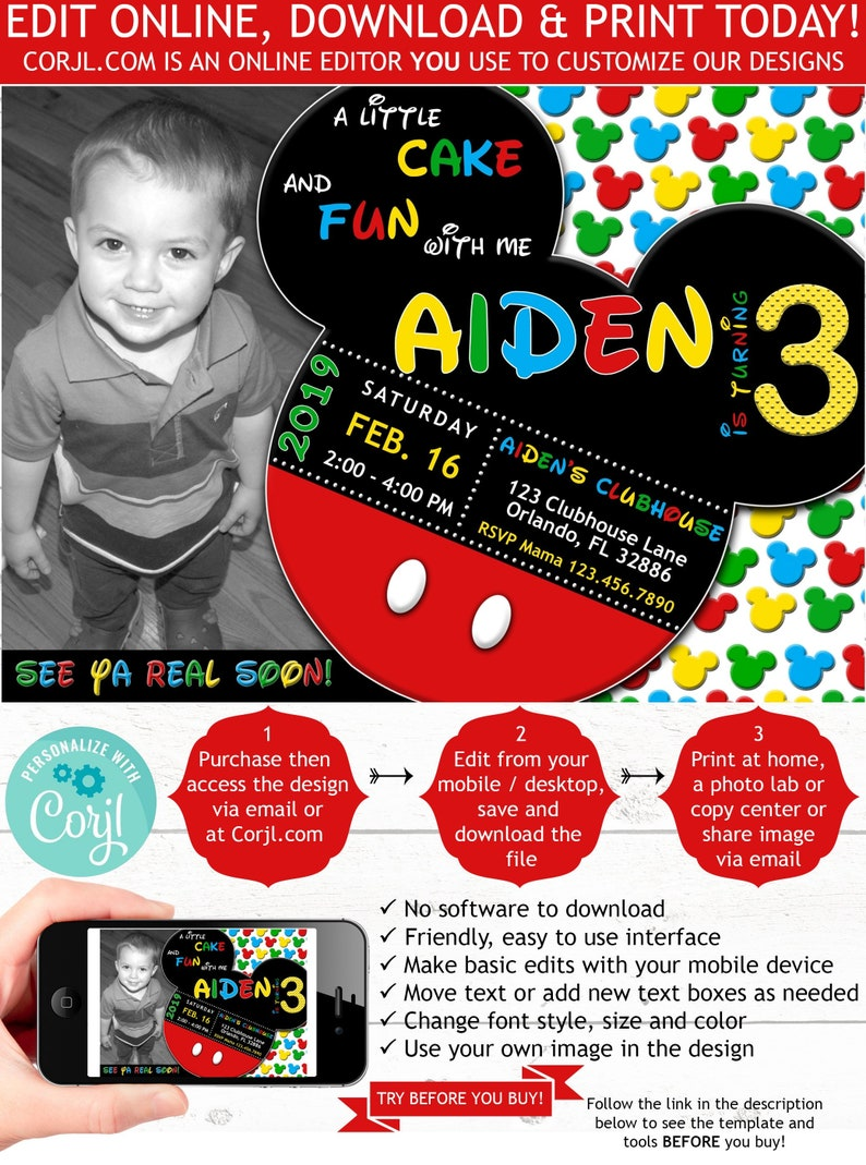Mickey Mouse 3rd Birthday With Photo Invite Third