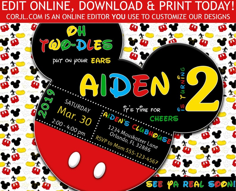 Mickey Mouse TWO Dles 2nd Birthday Invitation TWO Dles Second Birthday Invite Retro 5x7 Editable Invite Template Printable Instant Download
