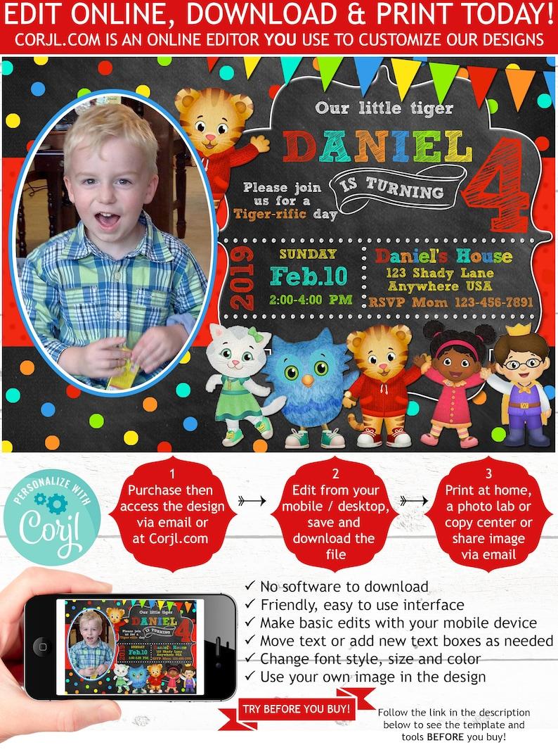 Daniel Tiger Birthday Invitation Photo