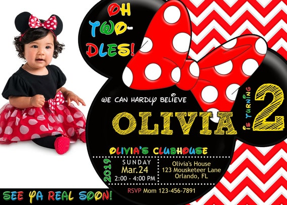 Minnie Mouse TWO Dles 2nd Birthday Invitation Second Photo 5x7 DIY Editable Invite Template Printable