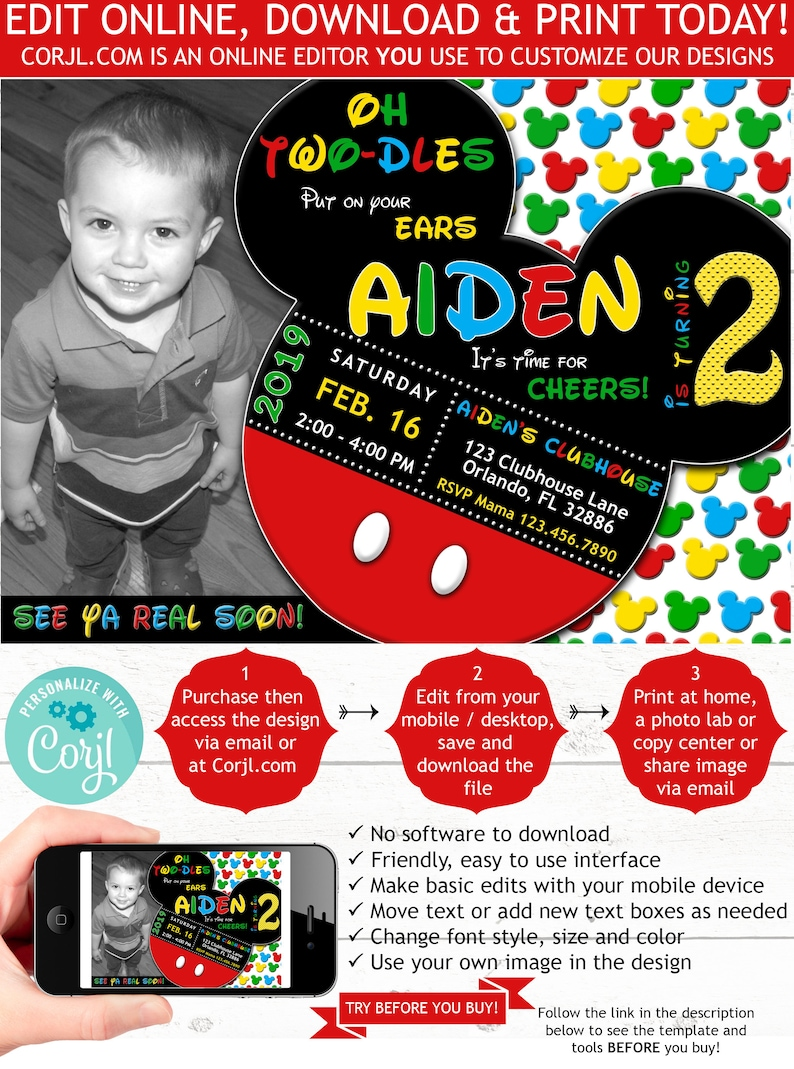 Mickey Mouse 2nd Birthday Invitation TWO Dles With Photo Second Birthday Twodles 5x7 Editable Invite Template Printable Birthday Invitation