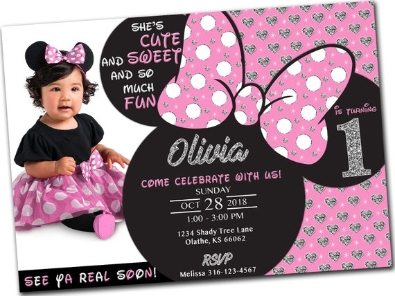 Printable Minnie Mouse First Birthday Invitation With Photo 1st Pink Glitter Glam 5x7 Personalized Digital File