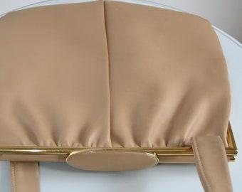 Original Vintage leather handbag, bag, 30s / 40s, brown/beige, golden details
