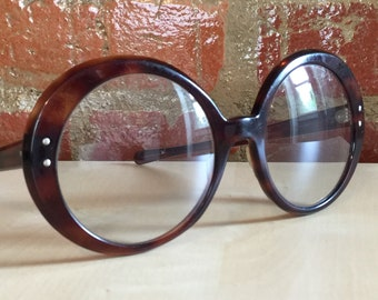 Vintage 60's Jackie O Round Glasses Frames, Tortoise Shell Brown