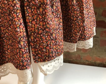 Vintage 80's Summer Calico Prairie Skirt