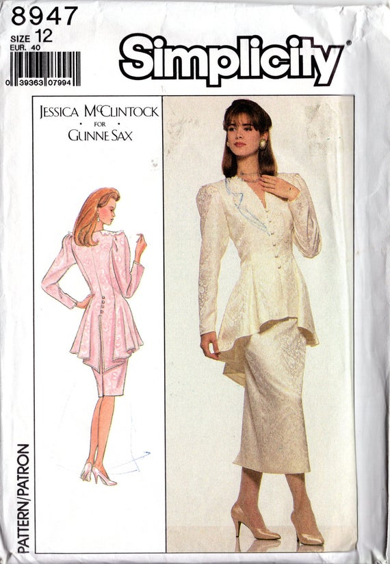 Vintage 90\'s Gunne Sax Sewing Pattern: Simplicity 8947- 2 pc Peplum ...