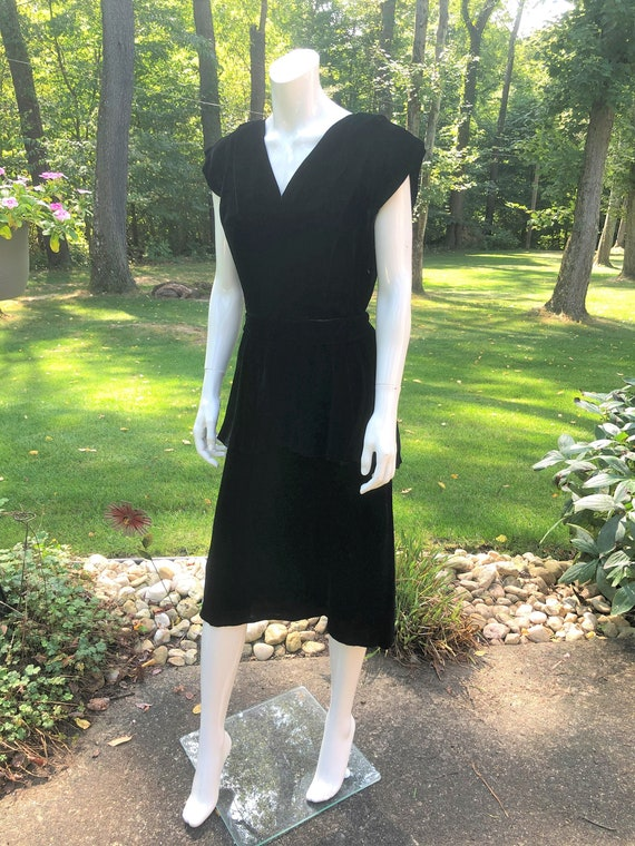 Vintage 40's Black Silk Velvet Dress with Peplum