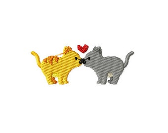 PES, cat embroidery design, kissing kittys embroidery design, heart kittys embroidery, kissing cats embroidery, valentines embroidery design