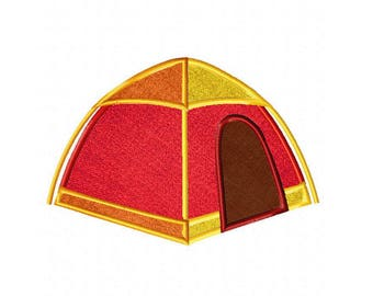 Summer tent camping embroidery design