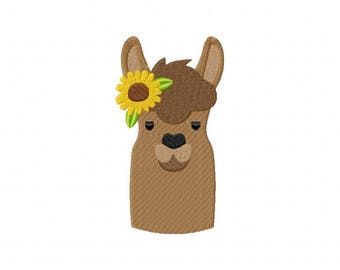 Llama sunflower embroidery design
