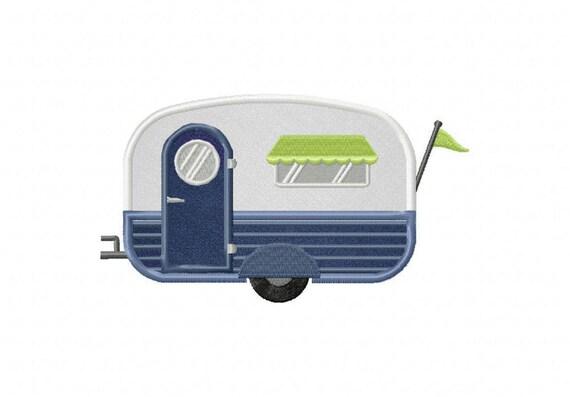 Blu camper campeggio viaggio rimorchio macchina ricamo design etsy