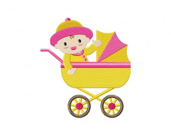 Baby carriage buggy embroidery design