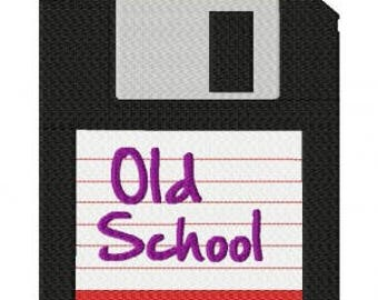 Vintage old school floppy disk computer machine embroidery design