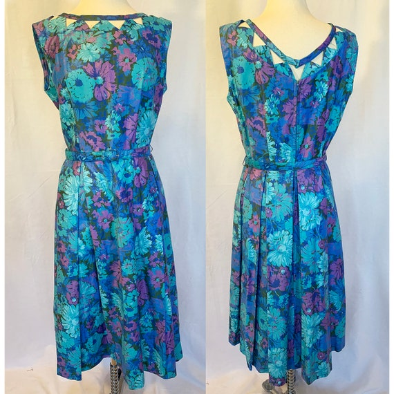 1960s bold floral print dress with cutout neckline