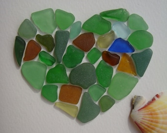 "Sea Glass Art-Mosaic-Sea glass Heart-Sea glass Note/Greeting Card ""I Love You""-Coastal Decor-Unique Gift-Handmade in Italy"