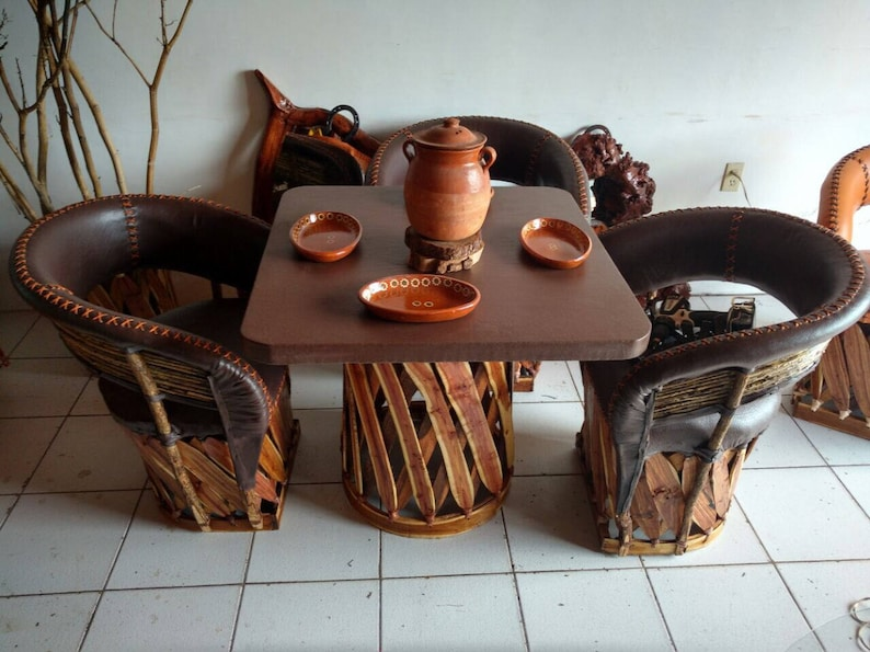 Dining Set Equipales Rustic Mexican Furniture