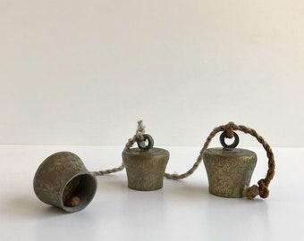 Brass Sarna Bells on Rope | Etched Brass Bells | Rope Bells | Brass Wind Chime | Graduated Bells | Doorbell | Brass Chimes | Bells of Sarna