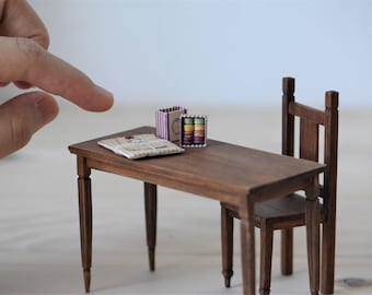 Miniature table and chair set - 1/12 scale