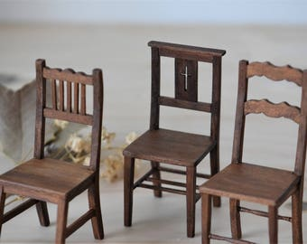 Wooden chairs miniature 1/12 scale