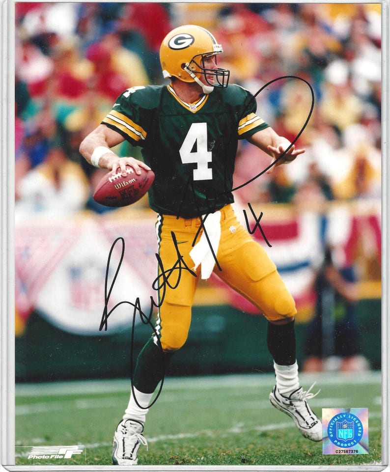 best service fb6b8 0dcac Authentic Brett Favre Signed 8x10 Color Glossy Photo Green Bay Packers,