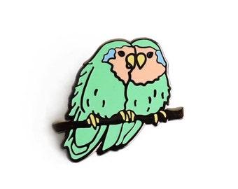 Lovebirds Enamel Pin - Bird Lapel Pin // Hard Enamel Pin, Cloisonné, Pin Badge