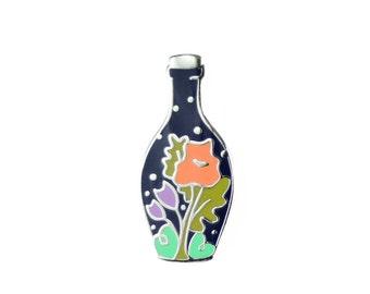 Bottled Spring - Midnight Enamel Pin - Flower Lapel Pin // Hard Enamel Pin, Cloisonné, Pin Badge