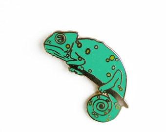 Chameleon Enamel Pin - Lizard Lapel Pin // Hard Enamel Pin, Cloisonné, Pin Badge
