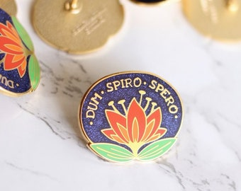 Dum Spiro Spero - While I Breathe I Hope - Enamel Pin - Latin Motto Lapel Pin // Hard Enamel Pin, Cloisonné, Glitter Pin Badge