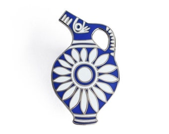 Kamares Ware - Blue Enamel Pin - Pottery Ancient Greece Archeology Lapel Pin // Hard Enamel Pin, Cloisonné, Pin Badge