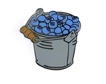 Blueberry Bucket Enamel Pin - Fruit Lapel Pin // Hard Enamel Pin, Cloisonné, Pin Badge