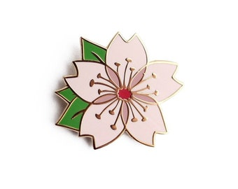 Cherry Blossom Enamel Pin - Pink Flower Sakura Lapel Pin // Hard Enamel Pin, Cloisonné, Pin Badge