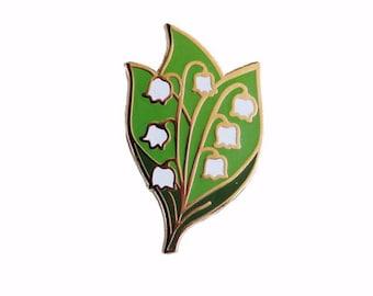 Lily of the Valley Enamel Pin - Flower Lapel Pin // Hard Enamel Pin, Cloisonné, Pin Badge