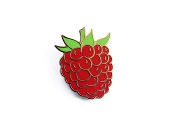 Raspberry Enamel Pin - Fruit Lapel Pin // Hard Enamel Pin, Cloisonné, Pin Badge