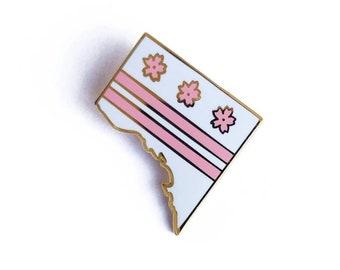 Cherry Blossom DC Flag Enamel Pin - Pink Flower Sakura Washington District of Columbia Lapel Pin // Hard Enamel Pin, Cloisonné, Pin Badge