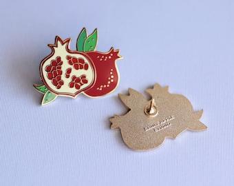 Pomegranate Enamel Pin - Fruit Lapel Pin  // Hard Enamel Pin, Cloisonné, Pin Badge