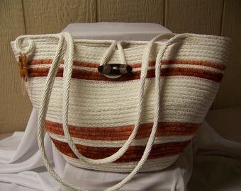 Rope Tote in Brown and White