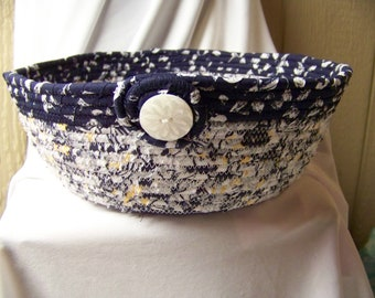 Coiled Rope Navy & White Basket