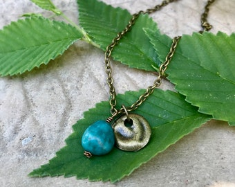 Dainty Turquoise and Brass charm necklace
