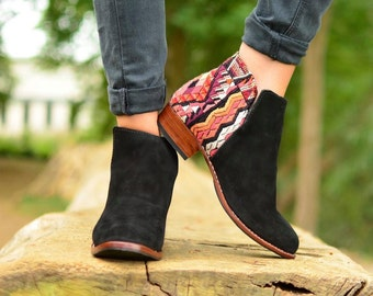 CUSTOM Slip-On Booties~Leather and Huipil Boots~Suede Ankle Boots~Boho Boots~Customizable~Spring Booties~Hippie~Boho Chic